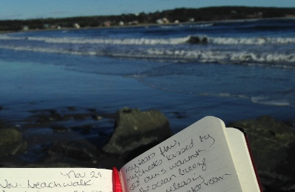 Journal with writing, beach and water in the background
