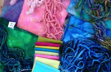 Hand spun yarns & fabrics hand dyed