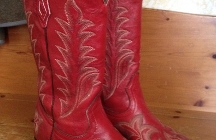 Red leather cowboy boots